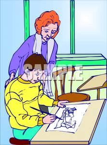222x300 Teacher Watching A Student Doing A Drawing In Art Class