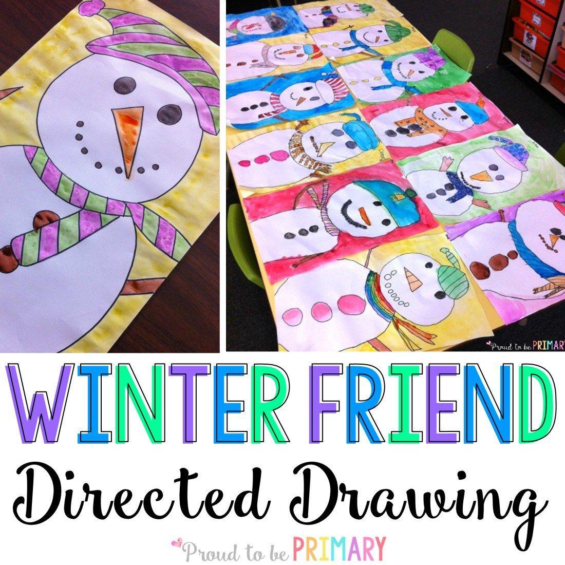 1100x1100 Winter Friend Snowman Directed Drawing Art Activities, Drawing