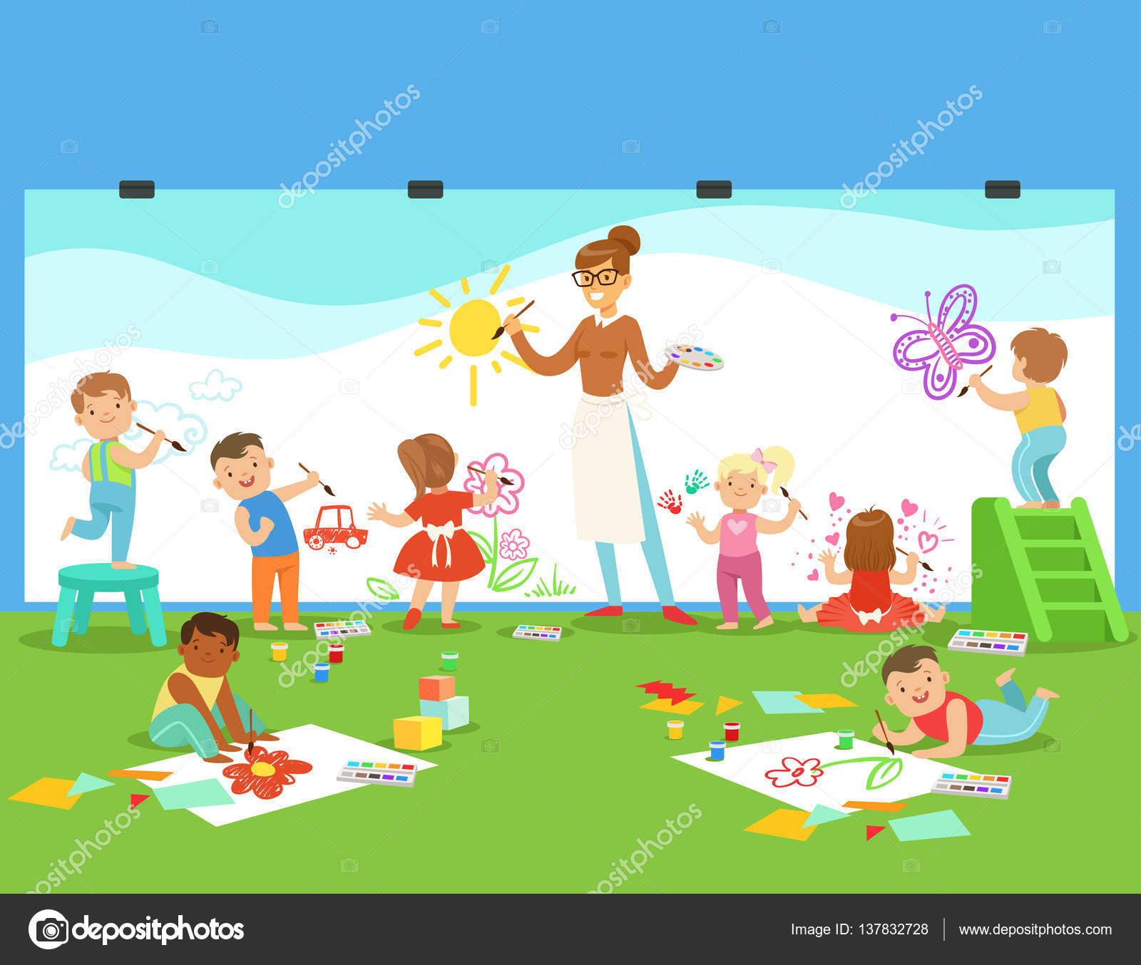 1600x1354 Young Children Inrt Class Drawingnd Painting With Teacher In