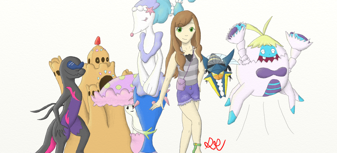 1100x500 Pokemon Sun And Moon Team! (Drawing)