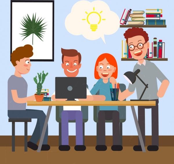 600x566 Teamwork Drawing Staffs Lightbulb Icons Colored Cartoon Design
