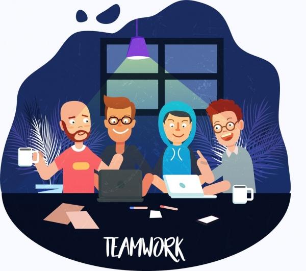 600x531 Teamwork Drawing Working Human Icons Colored Cartoon Decor Free
