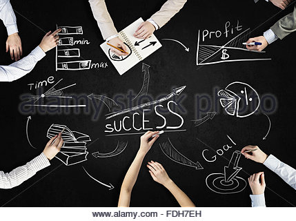 429x320 Top View Of People Hands Drawing Business Teamwork Strategy Stock