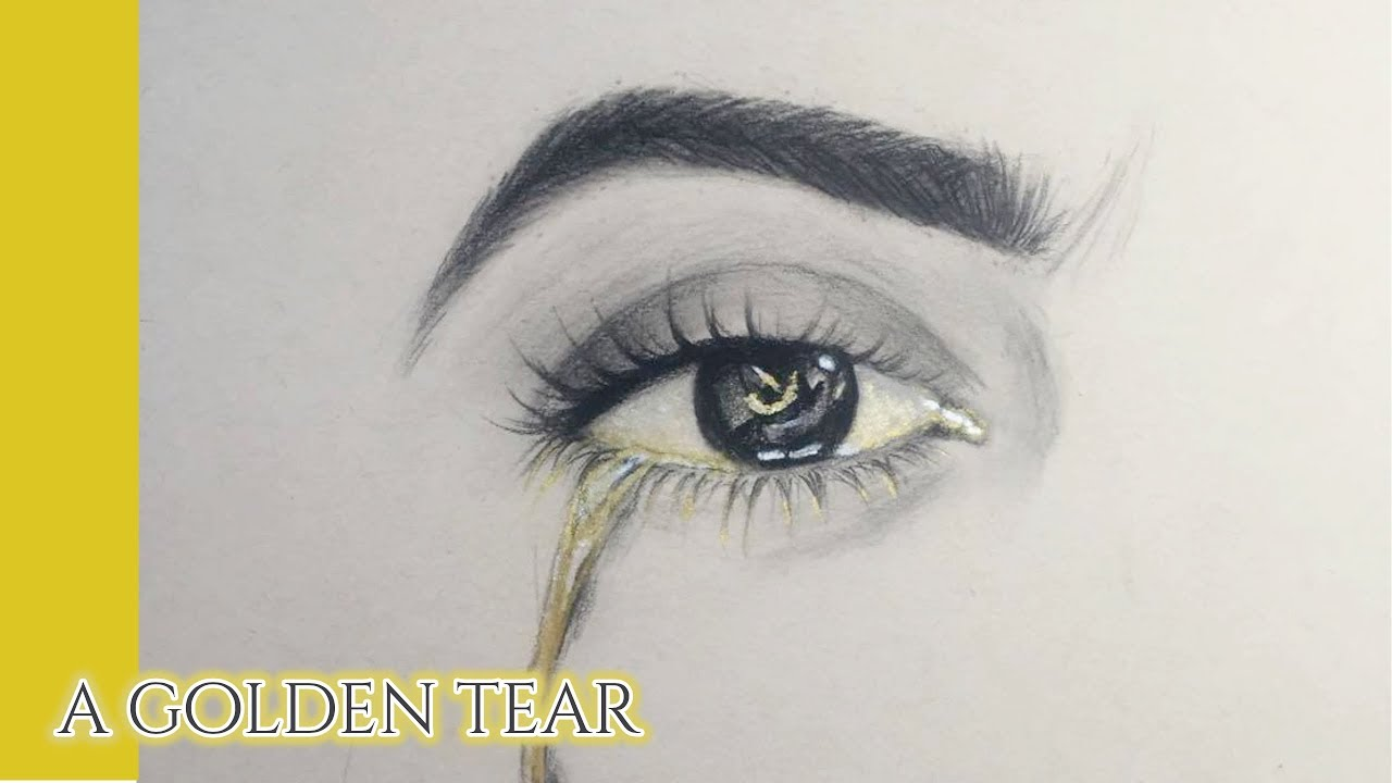 1280x720 Eye Drawing A Golden Tear