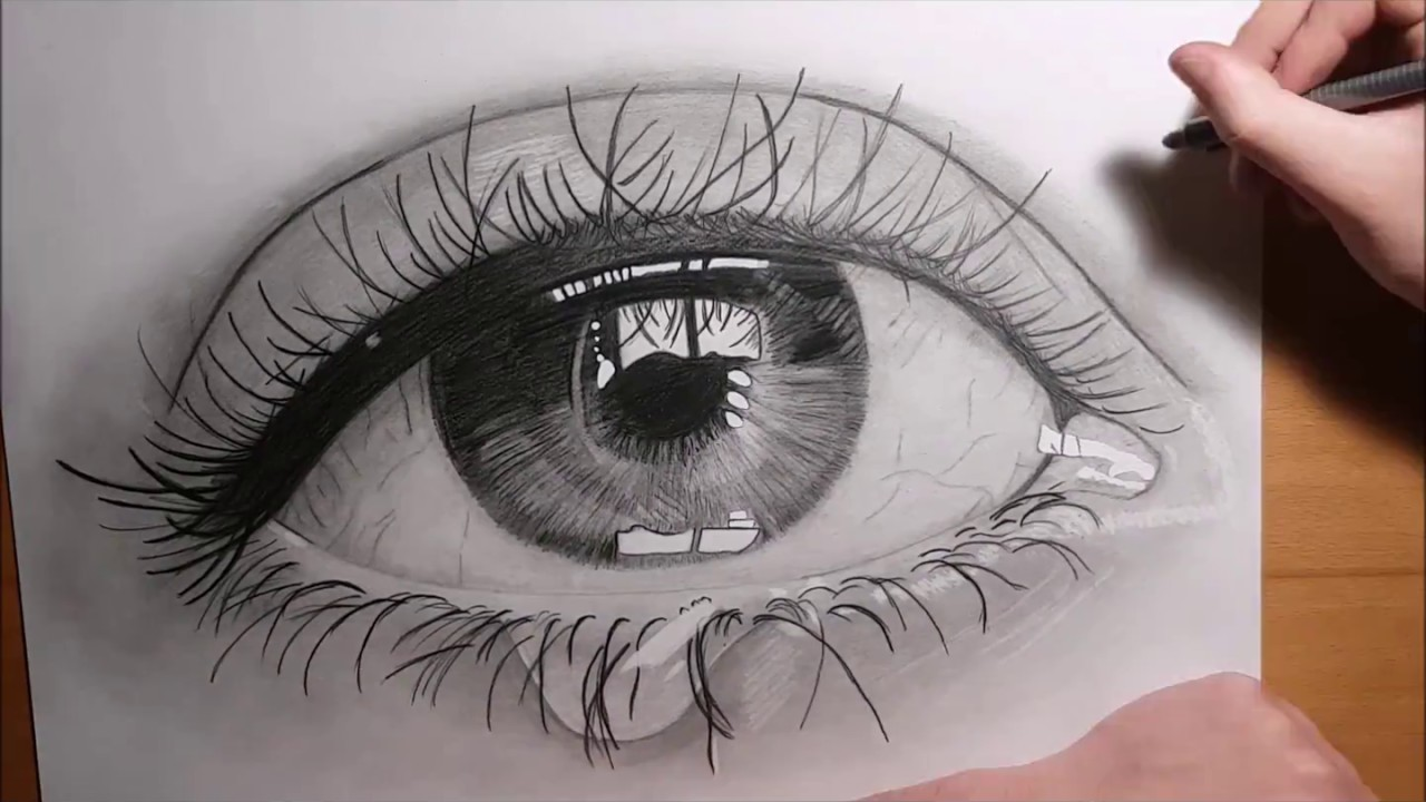 1280x720 Drawing Realistic Eye With Teardrop !!