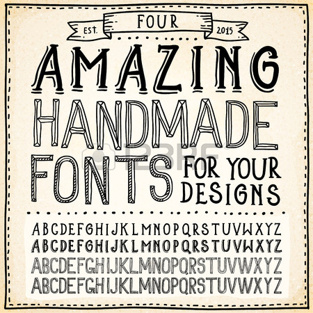 450x450 Handwriting Alphabets. Vector Hand Drawn Fonts Royalty Free