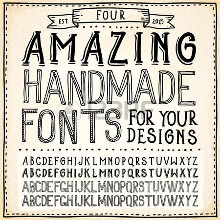 450x450 Handwriting Alphabets Vector Hand Drawn Fonts Royalty Free