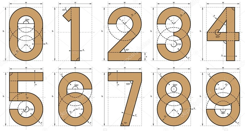 1022x548 Numbers Font Technical Drawing Stock Vector Fstockluk