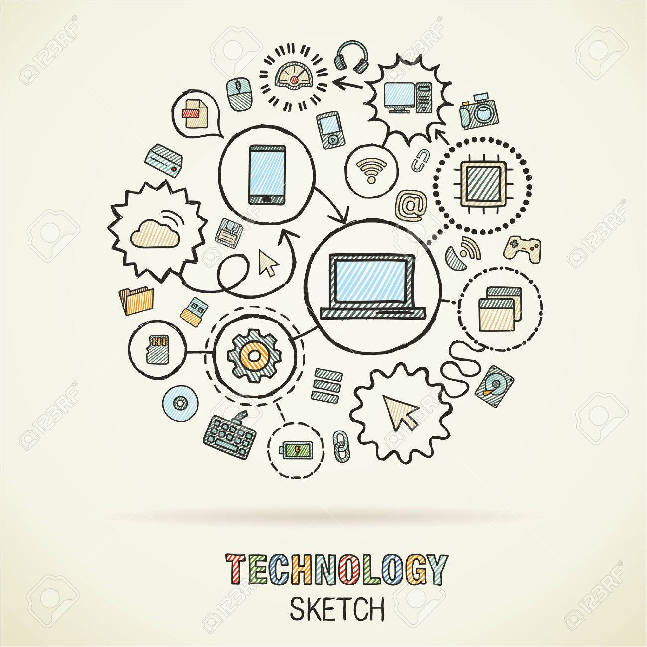 1300x1300 Technology Hand Drawing Integrated Sketch Icons. Vector Doodle