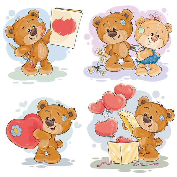 600x600 Cartoon Teddy Bears Head Drawing Vector 02