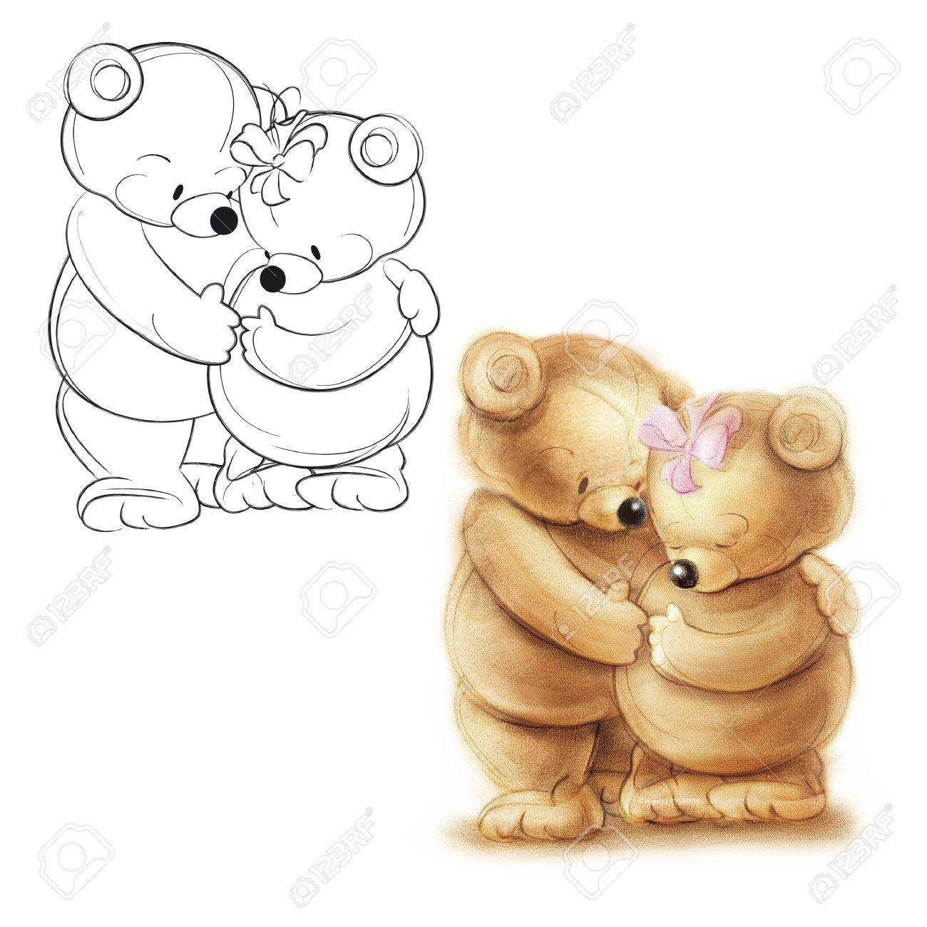 1300x1300 Loving Couple Teddy Bears. Drawing Bear. Stock Photo, Picture