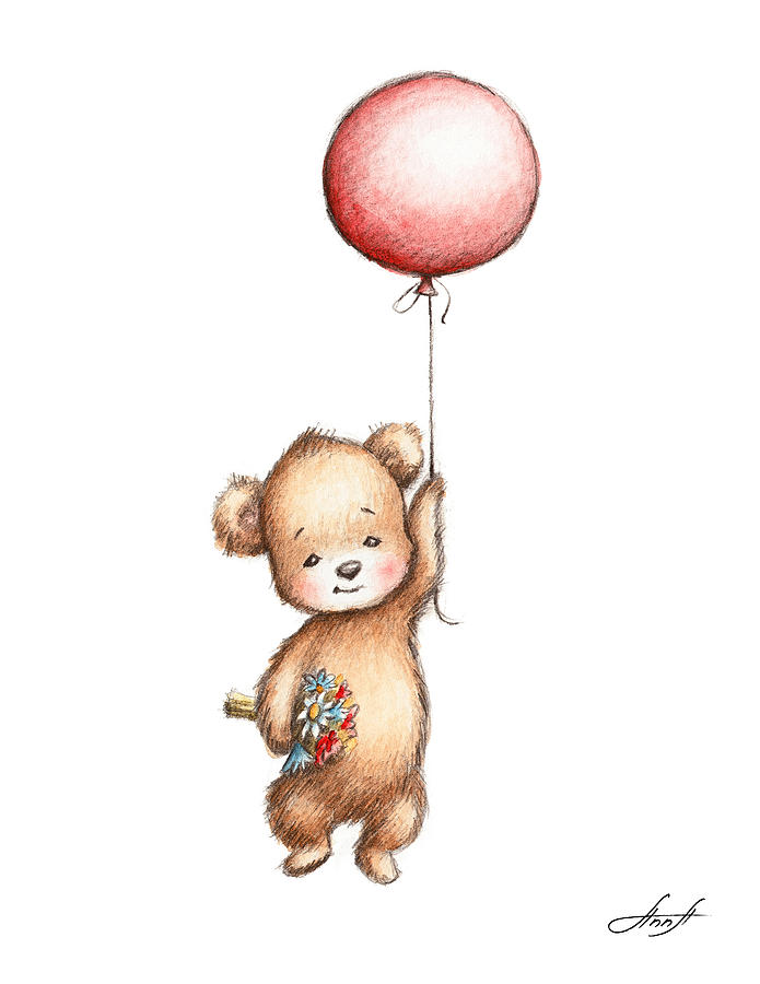 695x900 The Drawing Of Teddy Bear With Red Balloon And Flowers Painting By