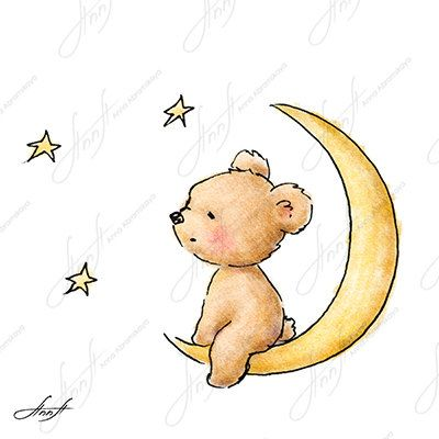 400x400 The Drawing Of Cute Teddy Bear Sitting On The Moon And Watching