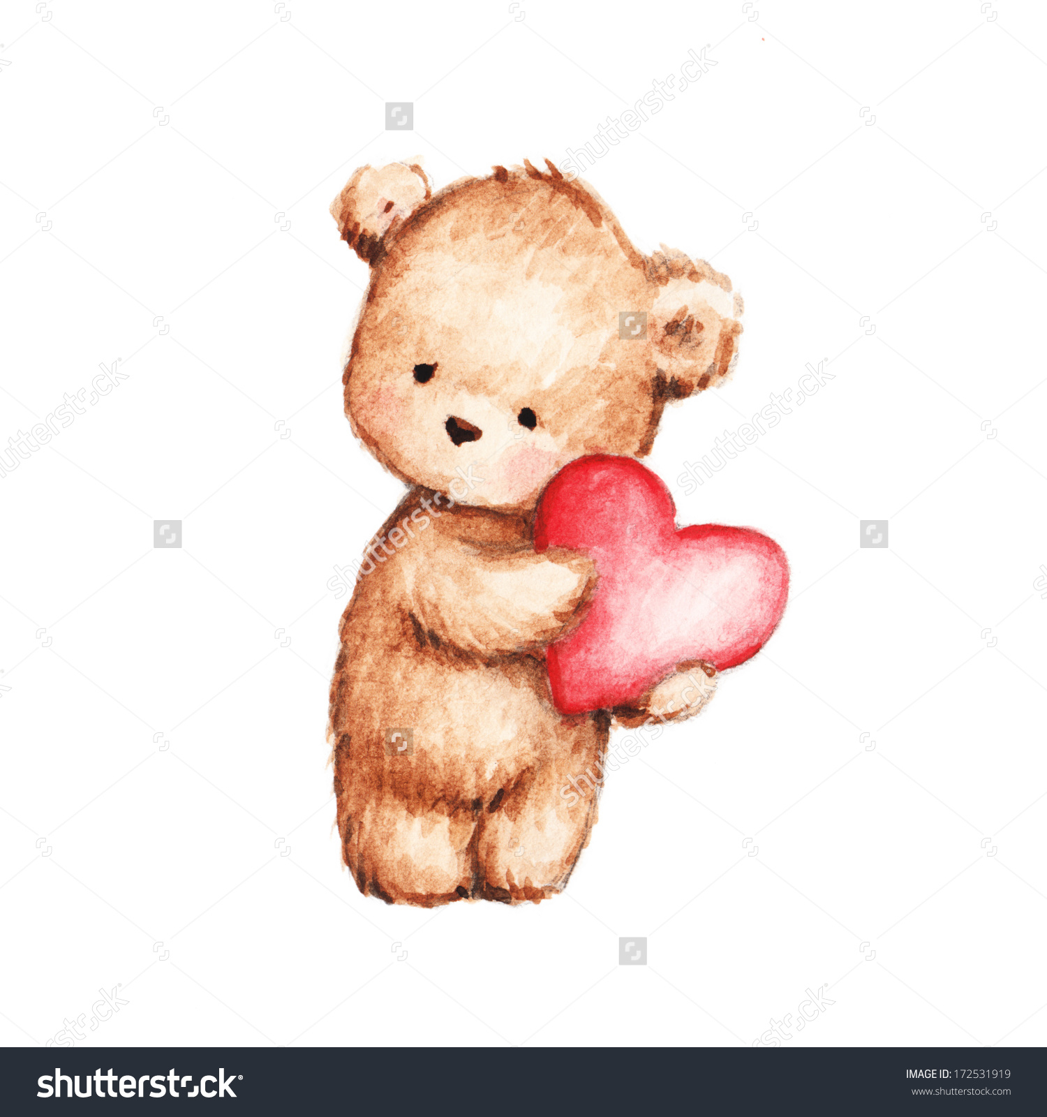 1500x1600 Bear With Heart Drawing Cute Teddy Stock