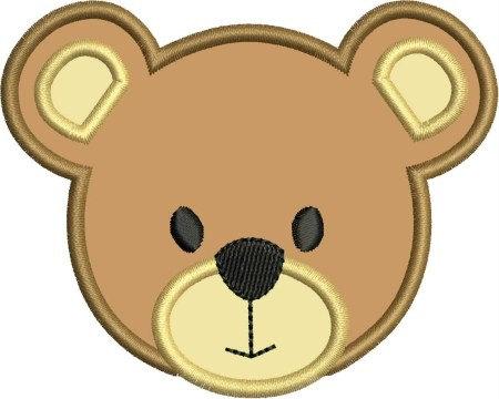 450x360 Instant Download Bear Face Applique Designs 3 Sizes