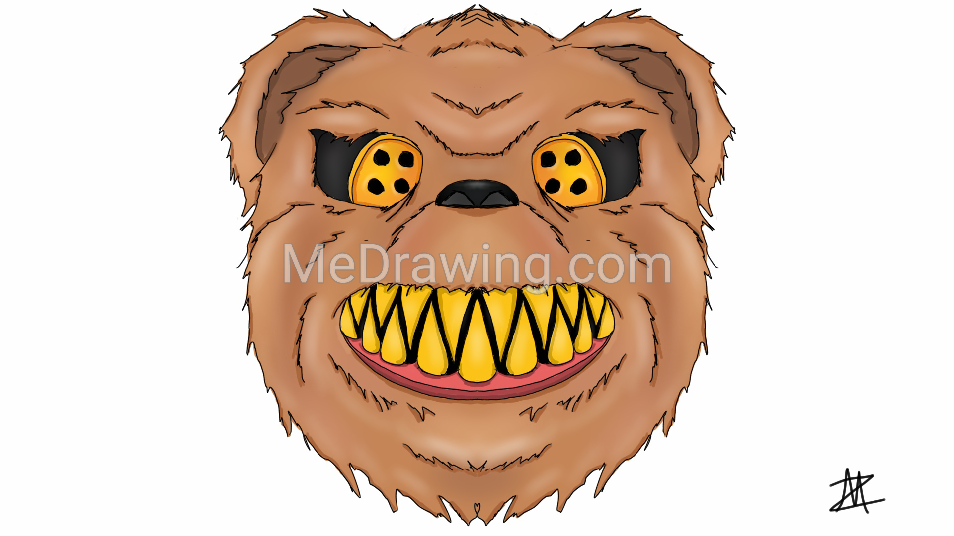 1920x1080 Scary Teddy Bear Colored Drawing