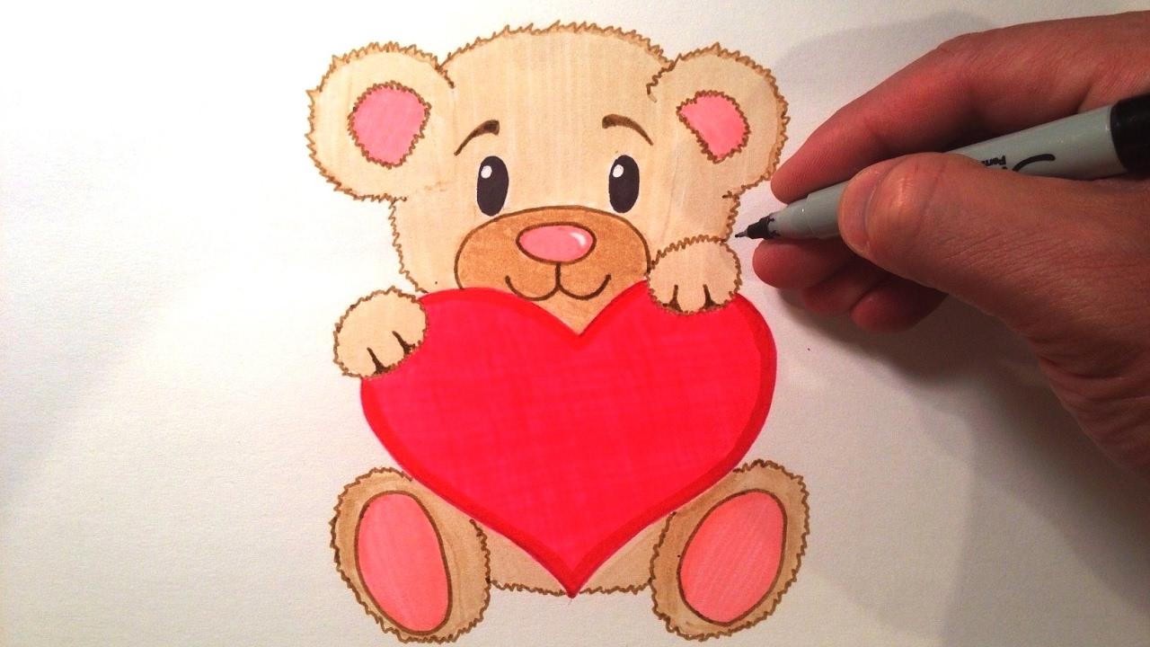 1280x720 Cute Teddy Bear With A Heart Drawings How To Draw A Cute Teddy