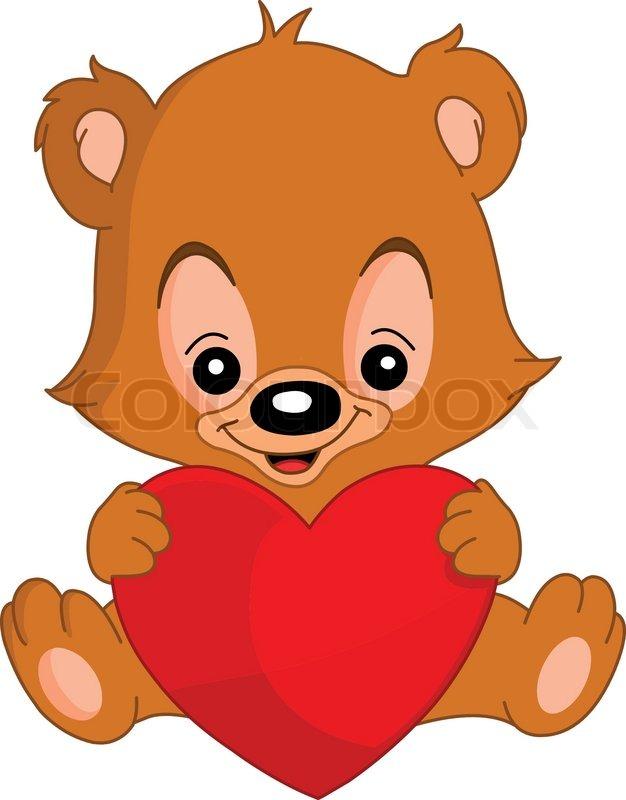 626x800 Cute Valentine's Teddy Bear Holding A Big Heart Stock Vector