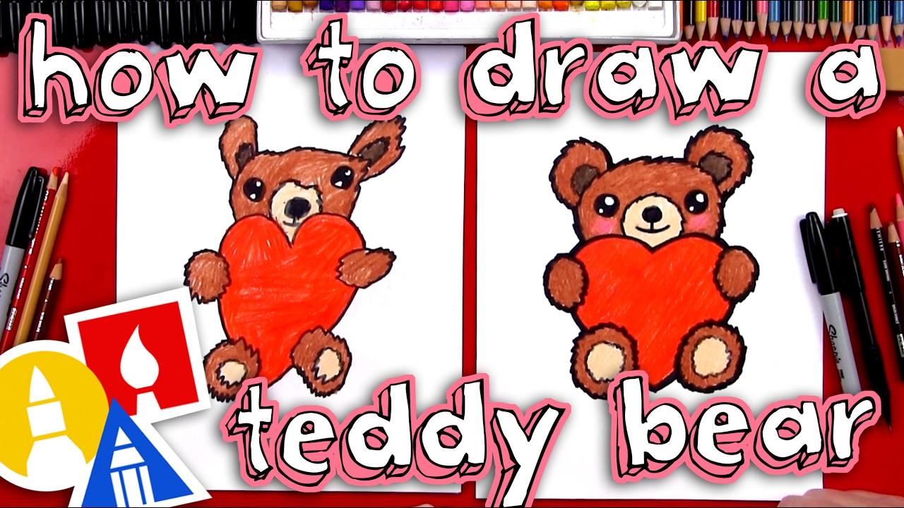 1280x720 How To Draw A Teddy Bear Holding A Heart