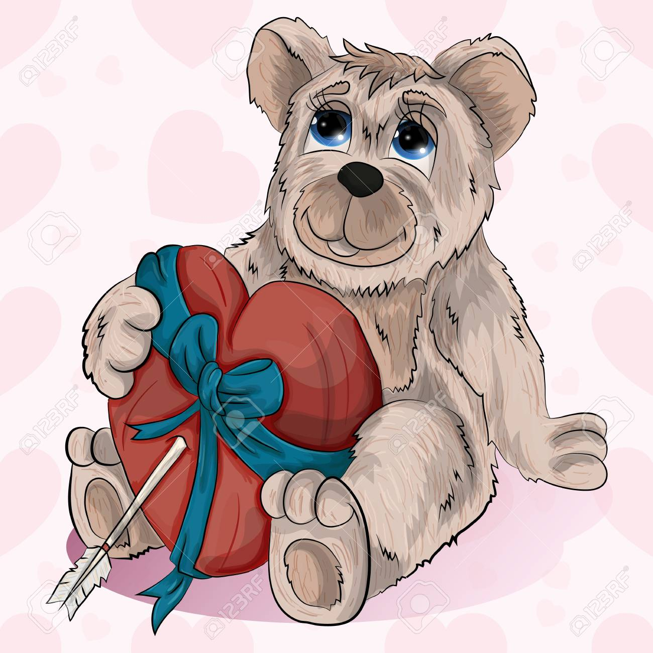 1300x1300 Little Bear Holding His Heart In Ribbon. Royalty Free Cliparts
