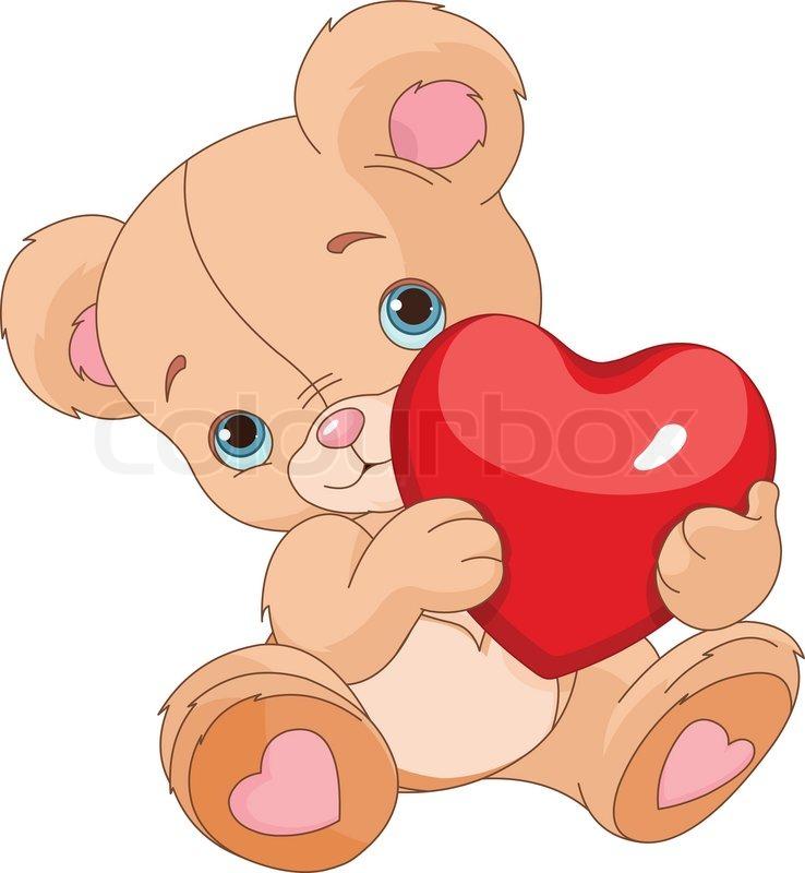 738x800 Valentines Teddy Bear Holding Love Heart Stock Vector Colourbox