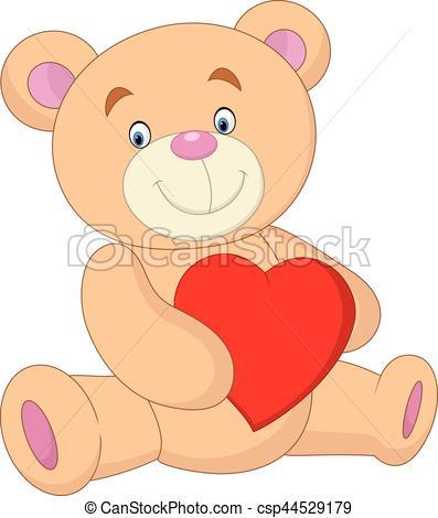 397x470 Vector Illustration Of Cartoon Bear Holding Heart Vectors