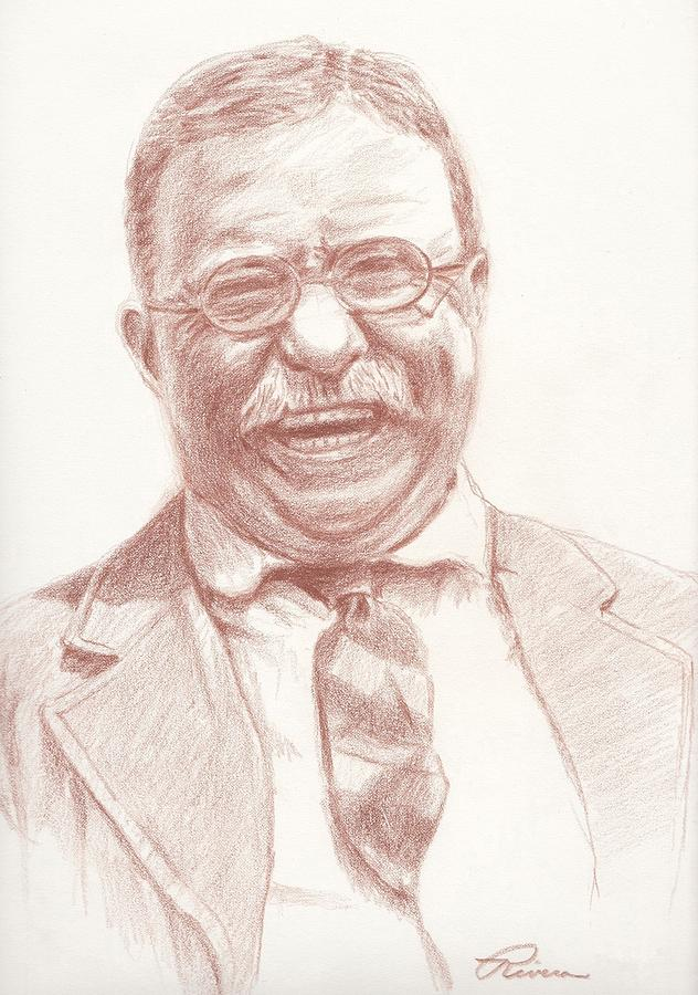 632x900 Theodore Roosevelt Drawing By Reggie Rivera