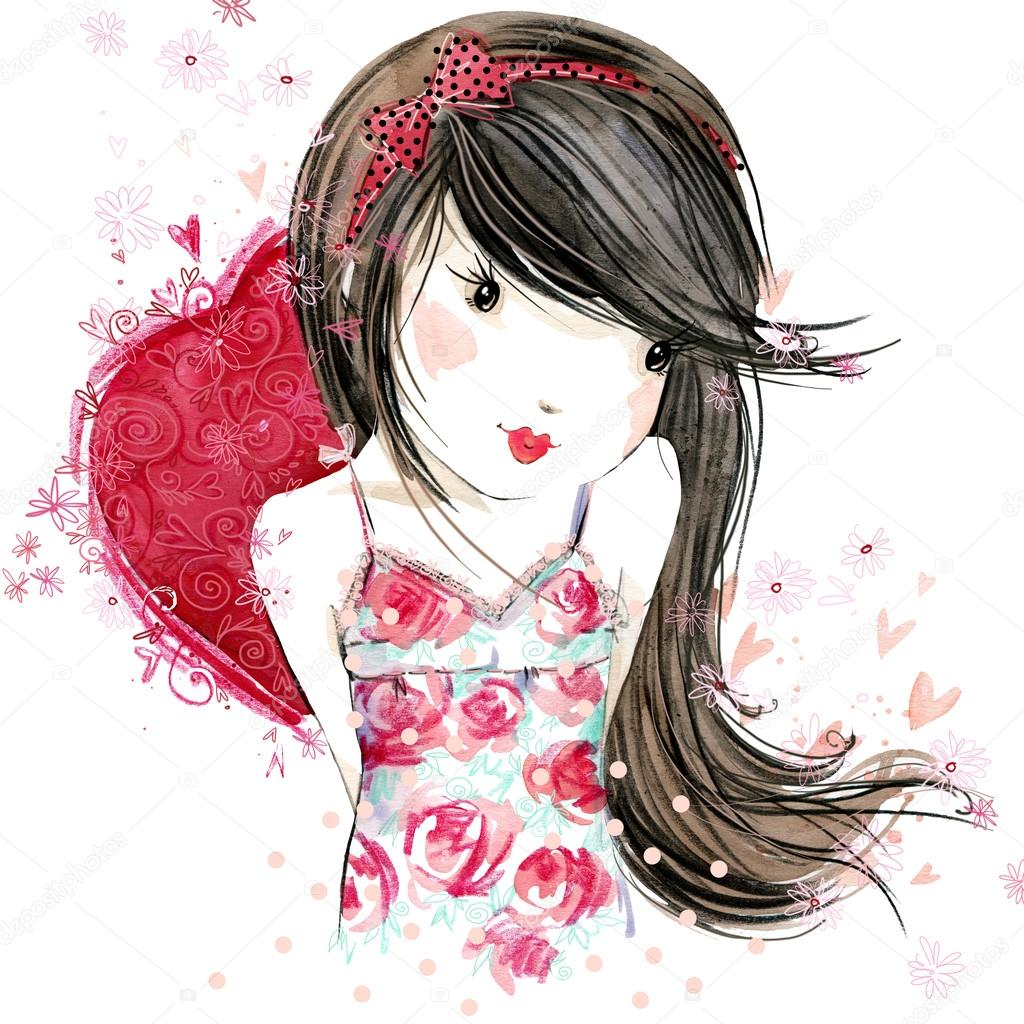1024x1024 Cute Girl With Red Heart. Valentine Day. Watercolor Illustration