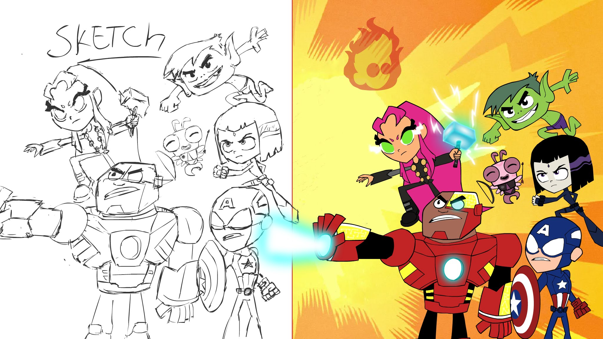 2048x1152 Teen Titans Go Drawing Teen Titans Go As The Avengers (Speed