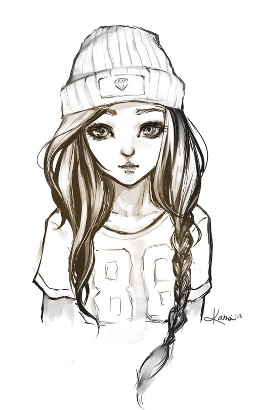500x811 Drawing Of A Girl Hipster Girls, Drawings And Sketches