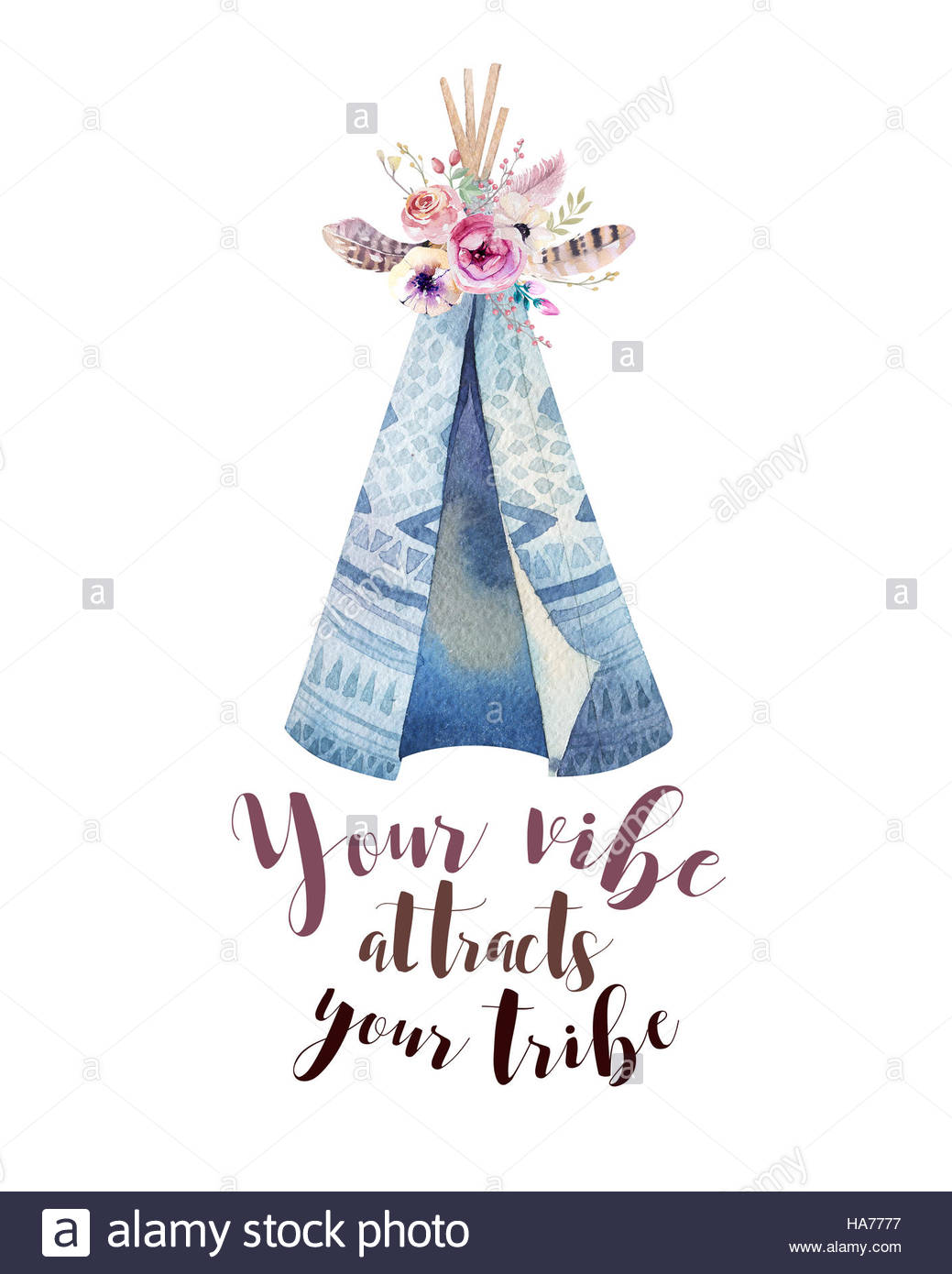 1039x1390 Handdrawn Watercolor Tribal Teepee, Isolated White With Quote