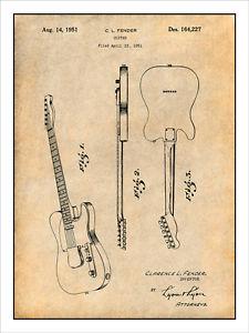 225x300 1951 Fender Telecaster Patent Print Art Drawing Poster 18x24 Ebay