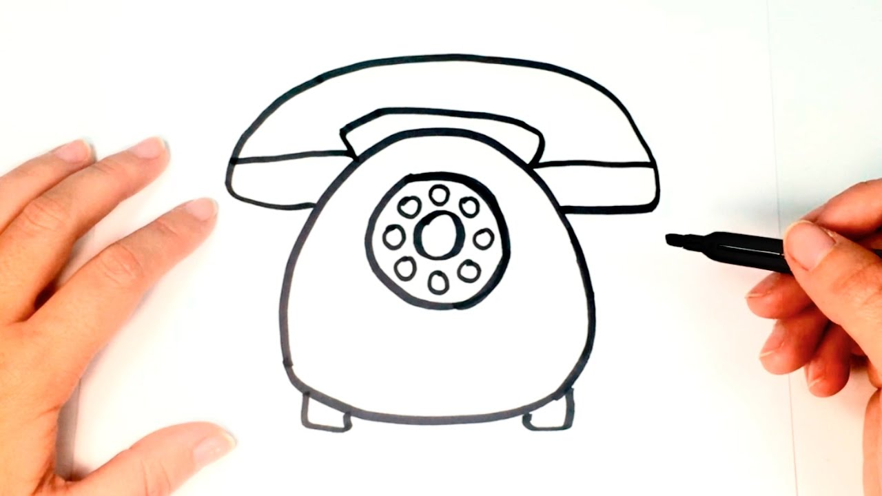 1280x720 How To Draw A Telephone For Kids Telephone Drawing Lesson Step