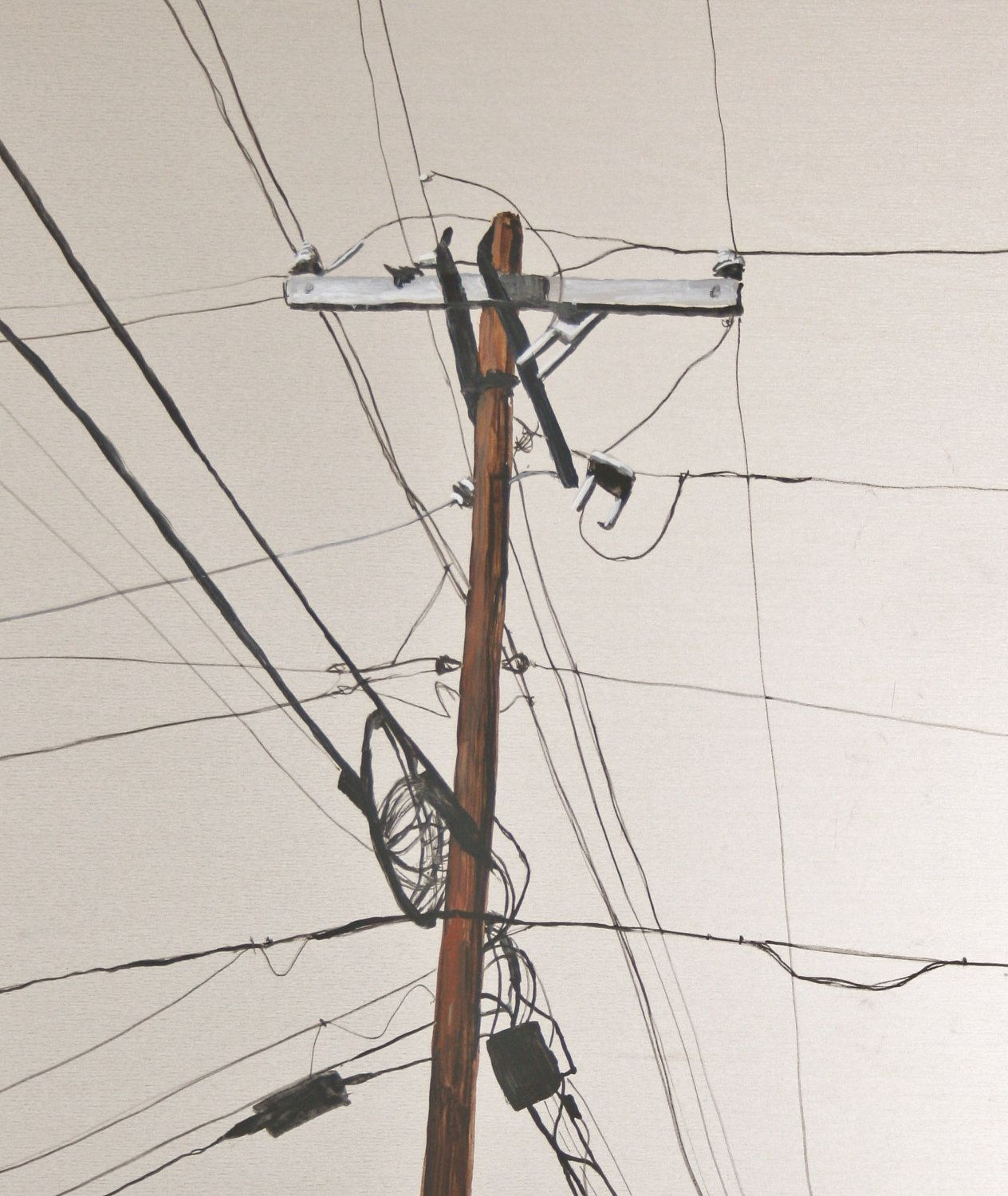 1264x1500 Print Of Original Painting Telephone Pole Telephone Poles