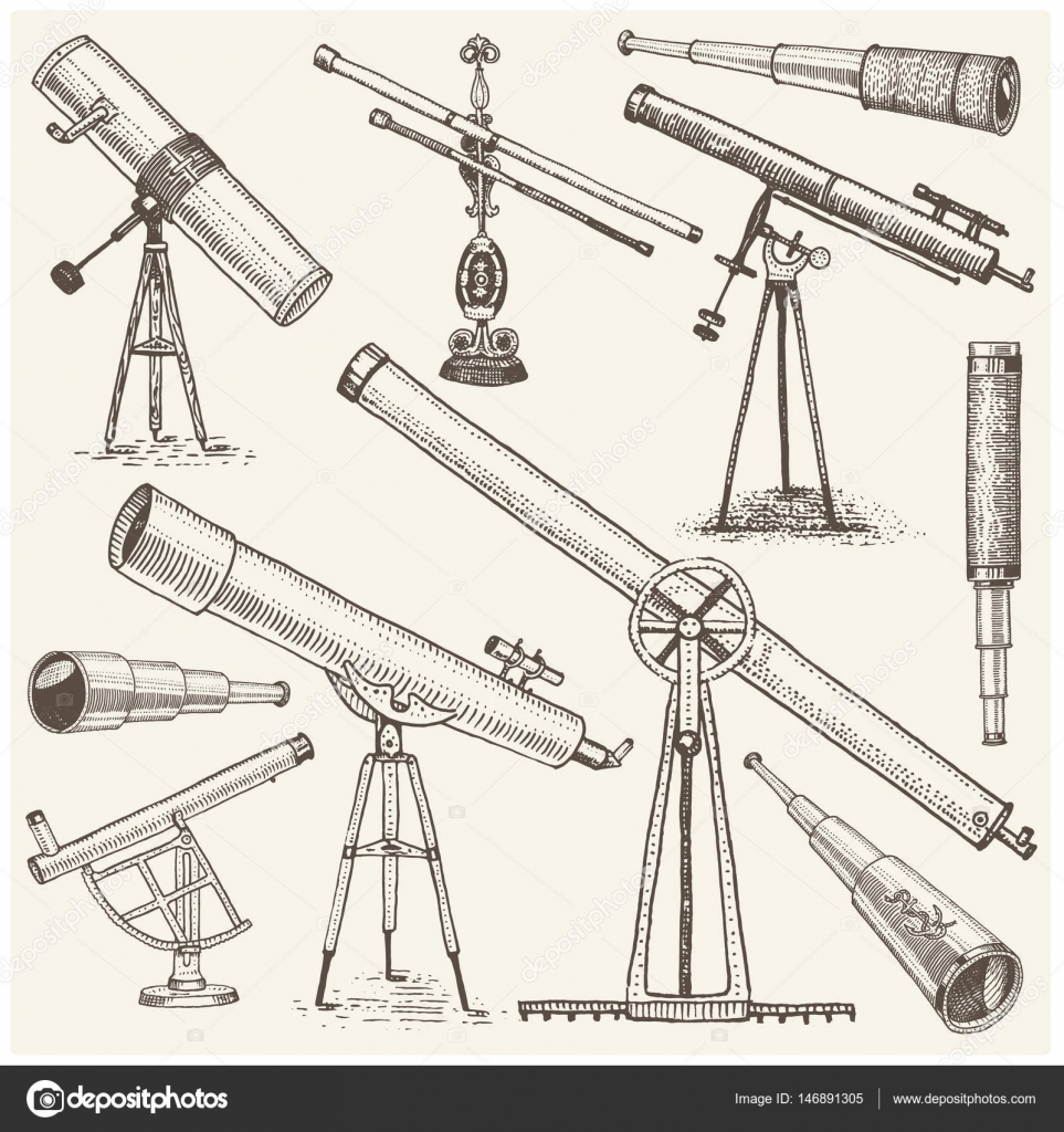 963x1024 Set Of Astronomical Instruments, Telescopes Oculars And Binoculars