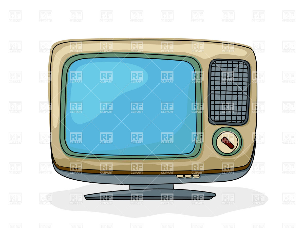 1200x900 Drawing Of Retro Style Tv Set With Blank Blue Screen Royalty Free