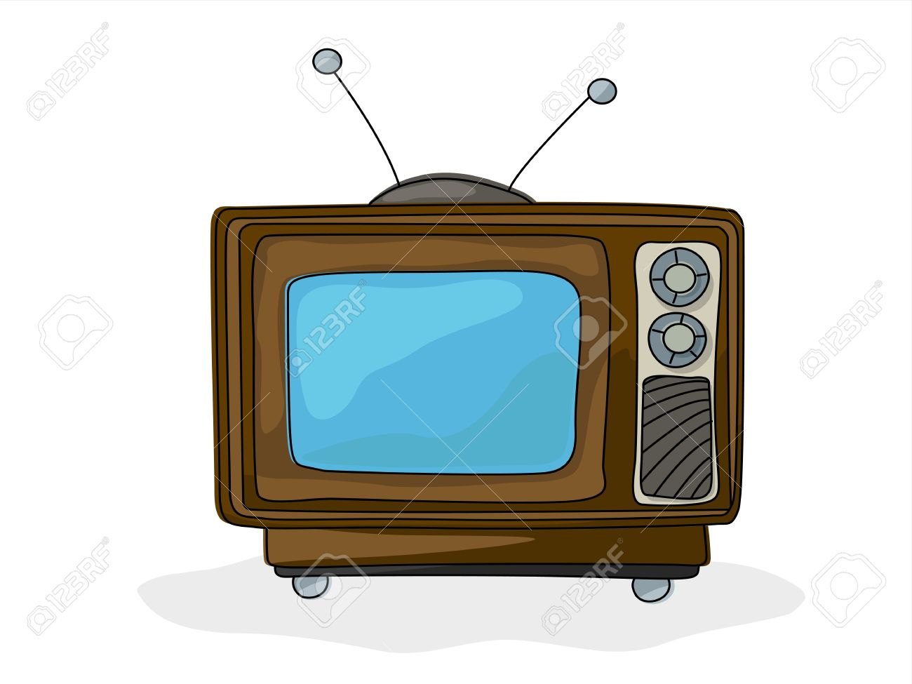1300x975 Retro Style Tv Drawing Over White Background Royalty Free Cliparts