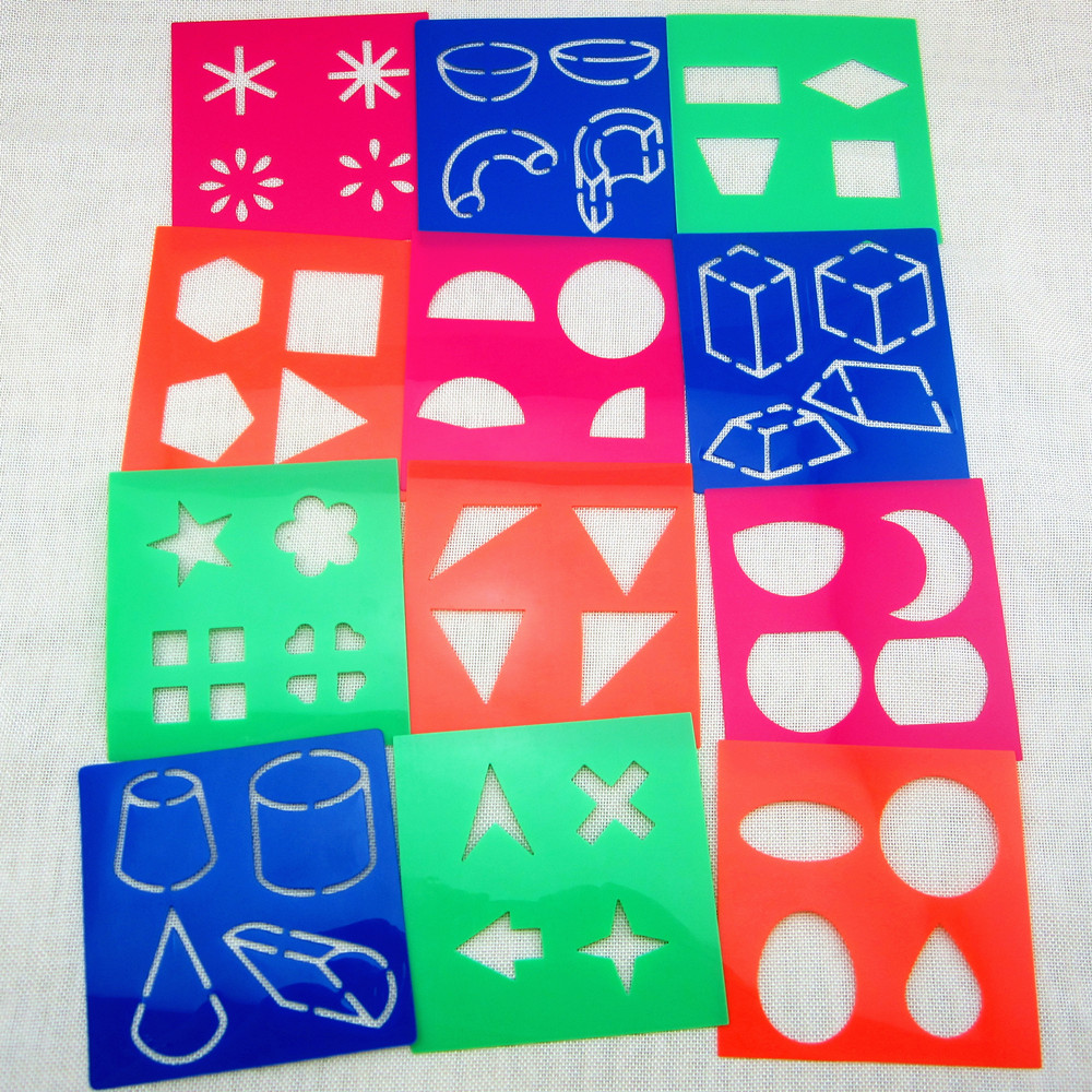 1000x1000 12designsset Stencils For Painting Kids Drawing Templates Plastic