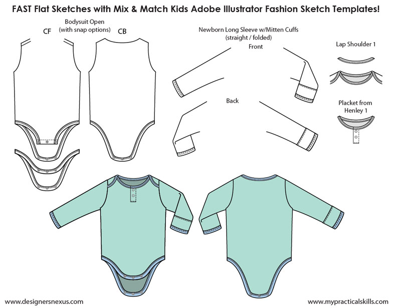 790x615 Kids Illustrator Flat Fashion Sketch Templates