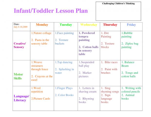 620x479 Infant Lesson Plan Template Illustration Wonderful Results