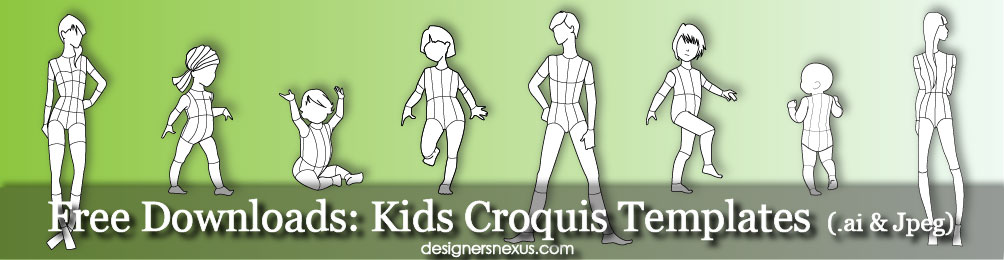 1004x260 Kids Croquis Free Children's Croquis Templates
