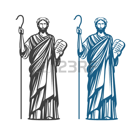 450x432 Moses Holds In Hand Two Stone Tablets Of Covenant With Ten