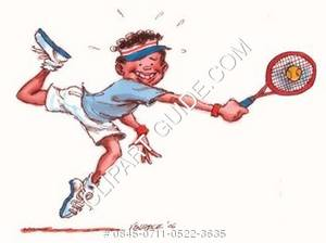 300x224 Clipart Drawing Of A Young, Smiling, African American Tennis
