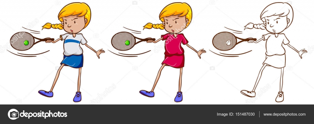 1024x406 Female Tennis Player In Three Different Drawing Styles Stock