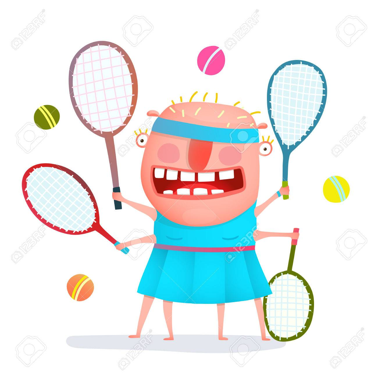 1300x1300 Fun Cartoon Sporty Girl Tennis Player Freaky Style Colorful