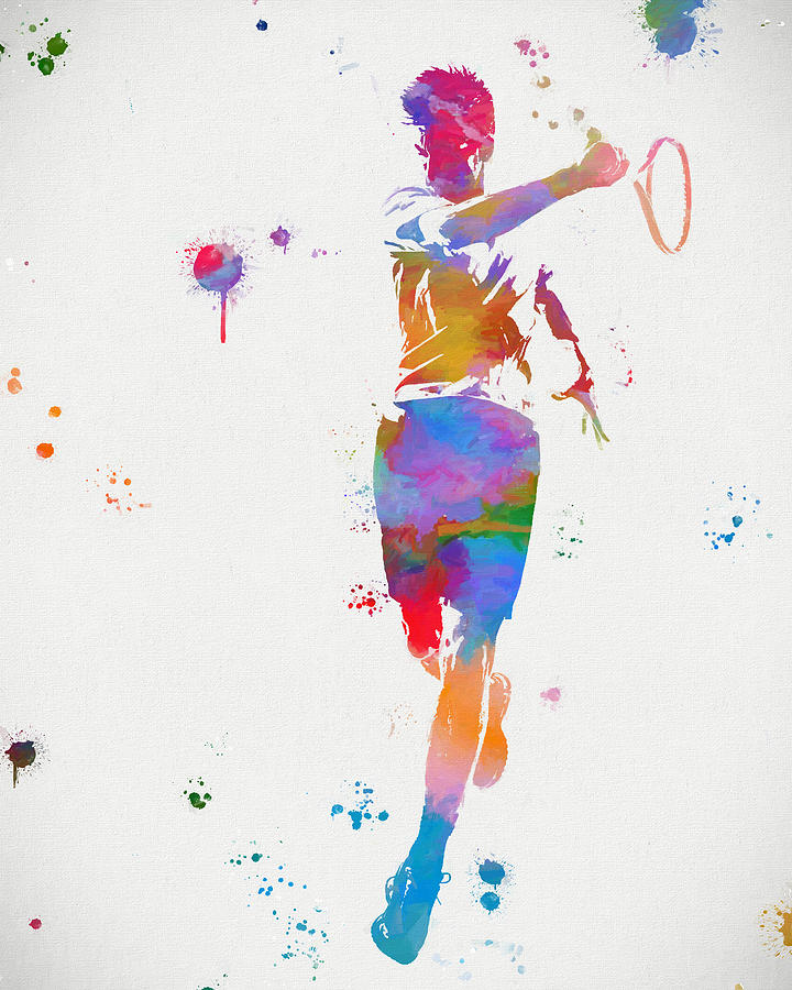 720x900 Tennis Player Paint Splatter Painting By Dan Sproul