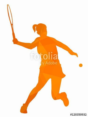 375x500 Silhouette Tennis Player , Vector Drawing Stock Image And Royalty