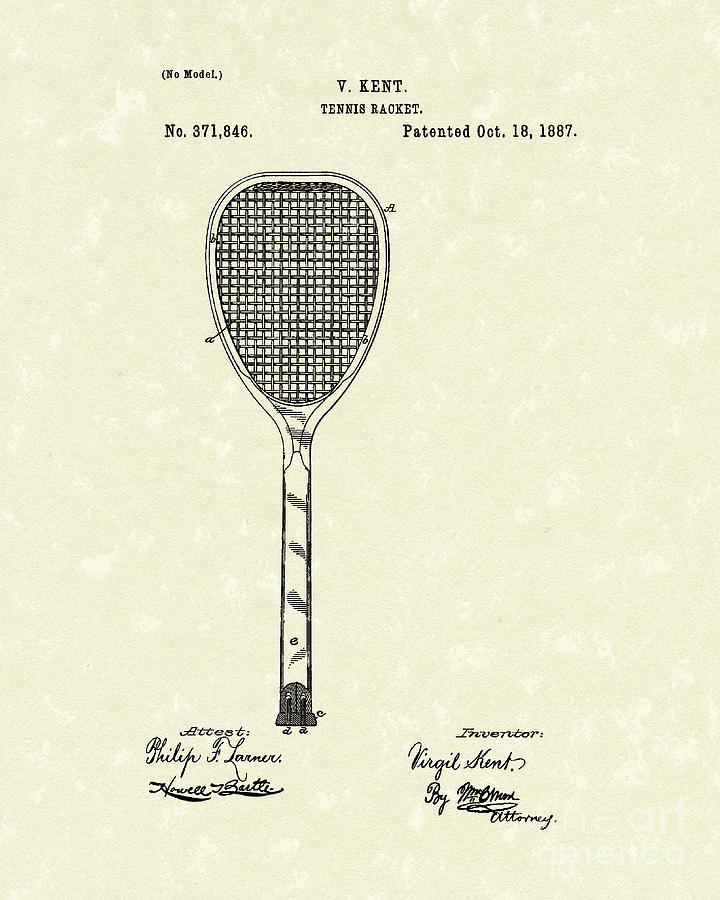 720x900 Tennis Racket 1887 Patent Art Drawing By Prior Art Design