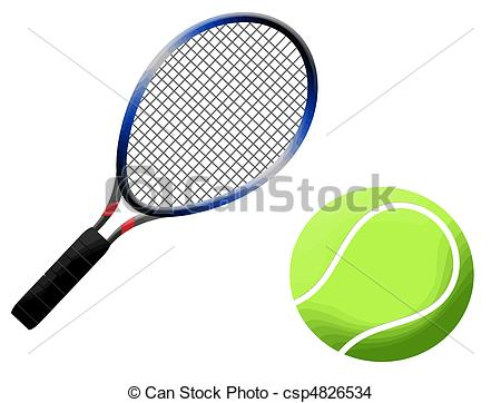 450x362 Tennis Racket And Ball Vector Illustration, On White Eps Vector