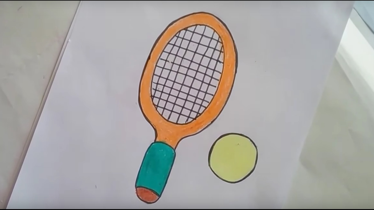 1280x720 How To Draw A Racket With Simple Basic Shapes ,how To Draw A Bat